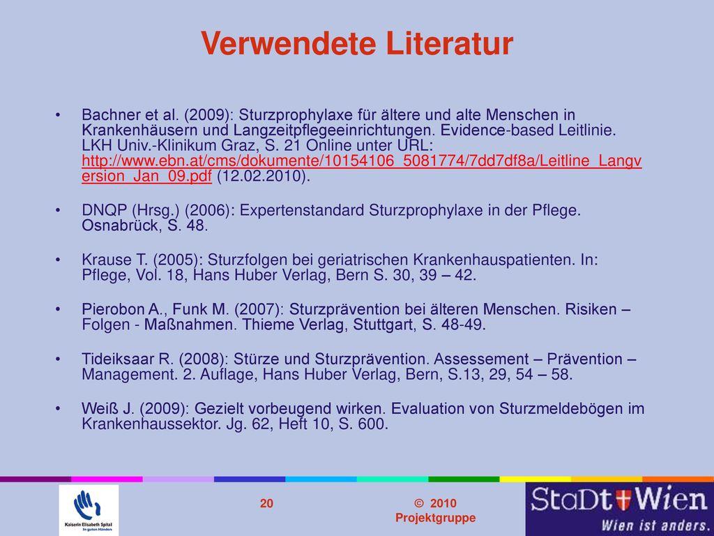 Problemstellung Verwendete Literatur.