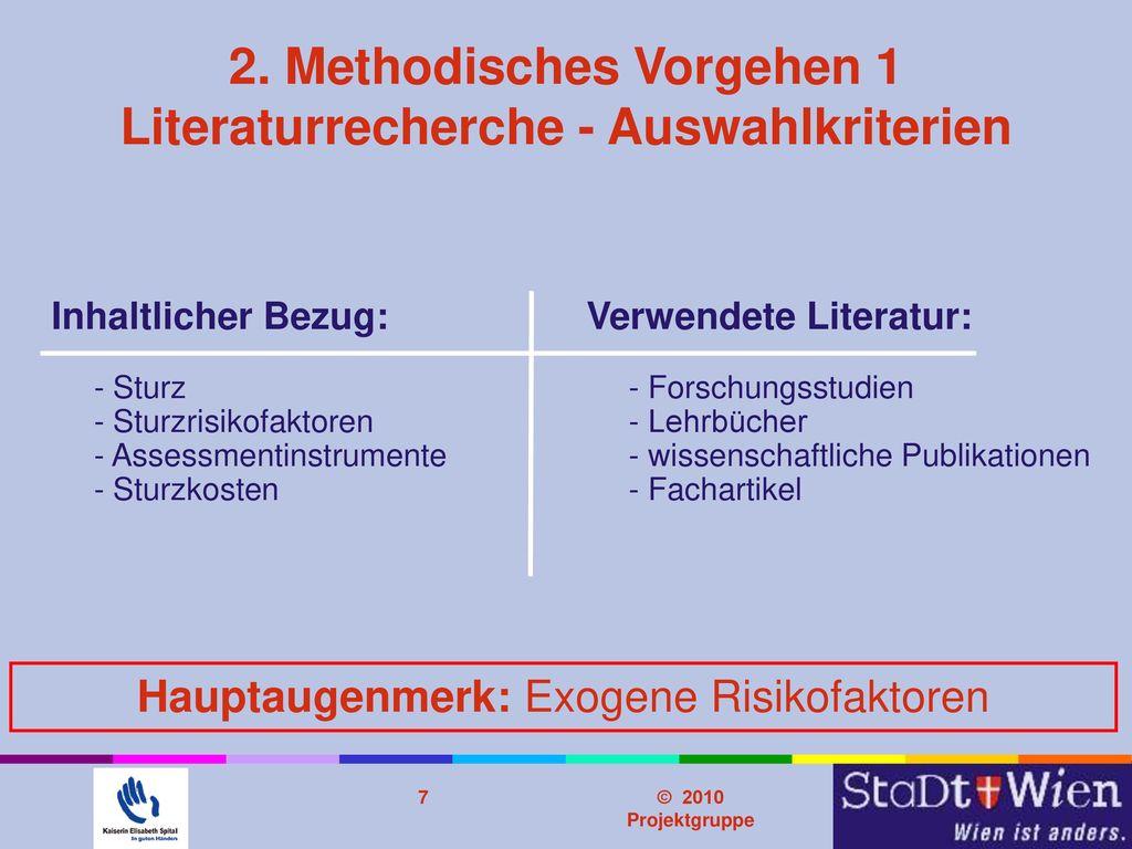 2. Methodisches Vorgehen 1 Literaturrecherche - Auswahlkriterien