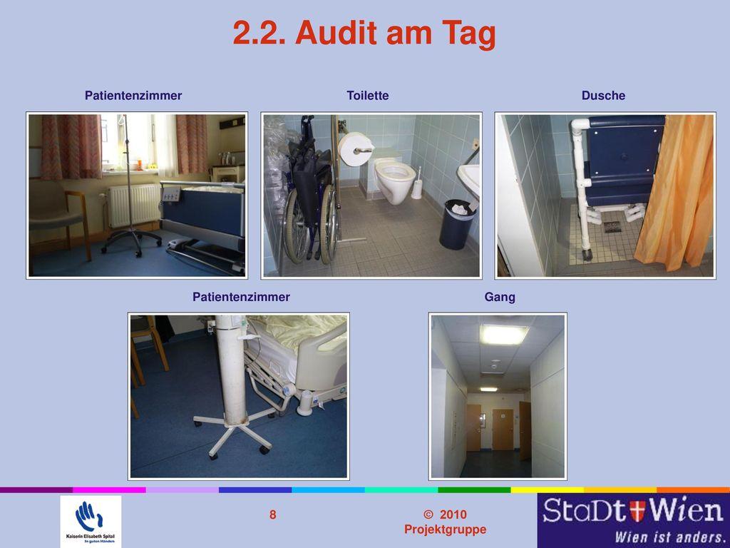 2.2. Audit am Tag Problemstellung Patientenzimmer Toilette Dusche