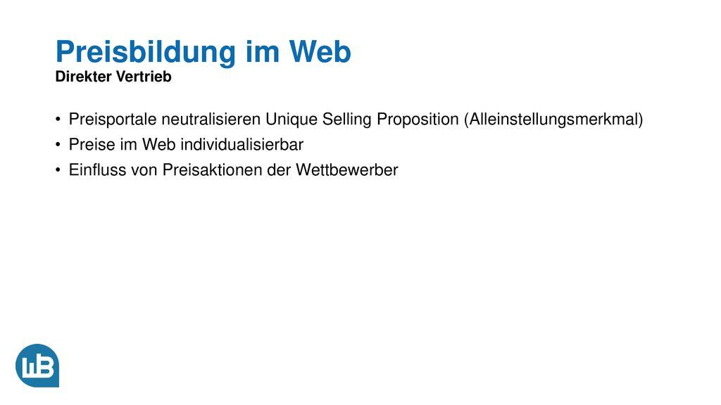 Preisbildung im Web Direkter Vertrieb