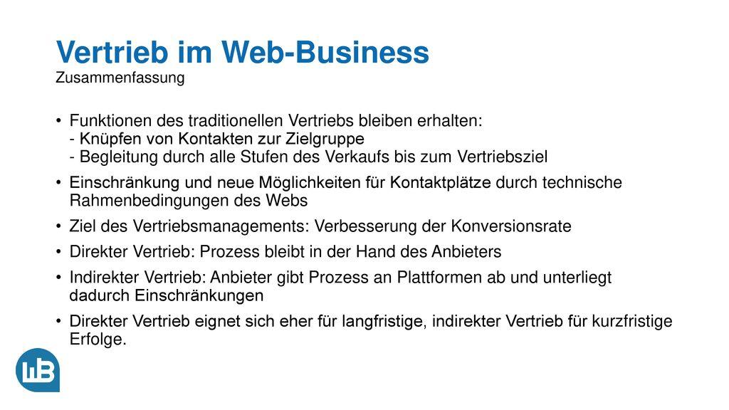 Vertrieb im Web-Business Zusammenfassung