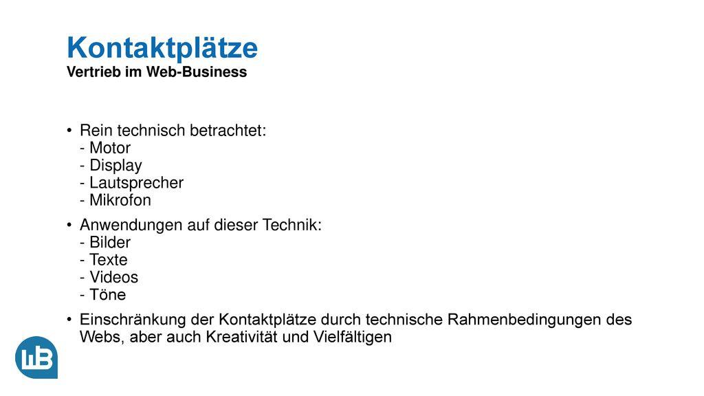 Kontaktplätze Vertrieb im Web-Business