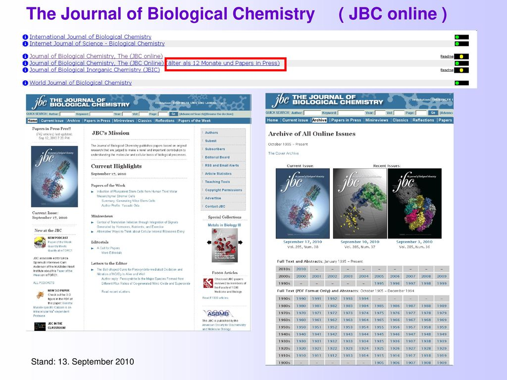 The Journal of Biological Chemistry ( JBC online )