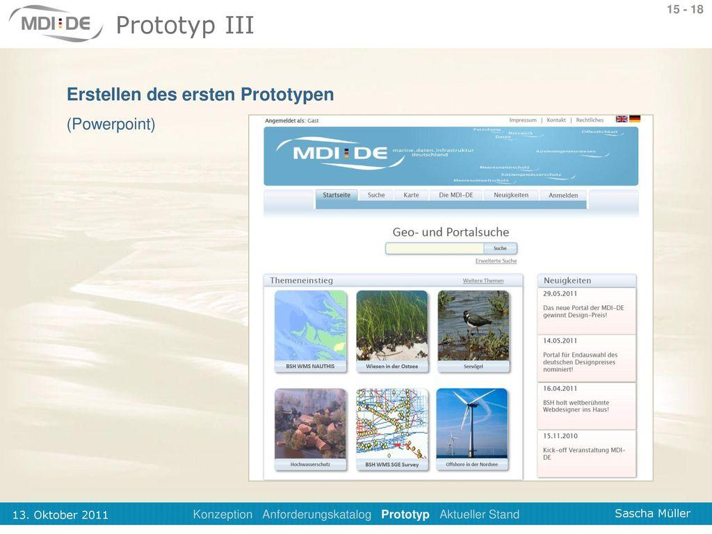 Konzeption Anforderungskatalog Prototyp Aktueller Stand