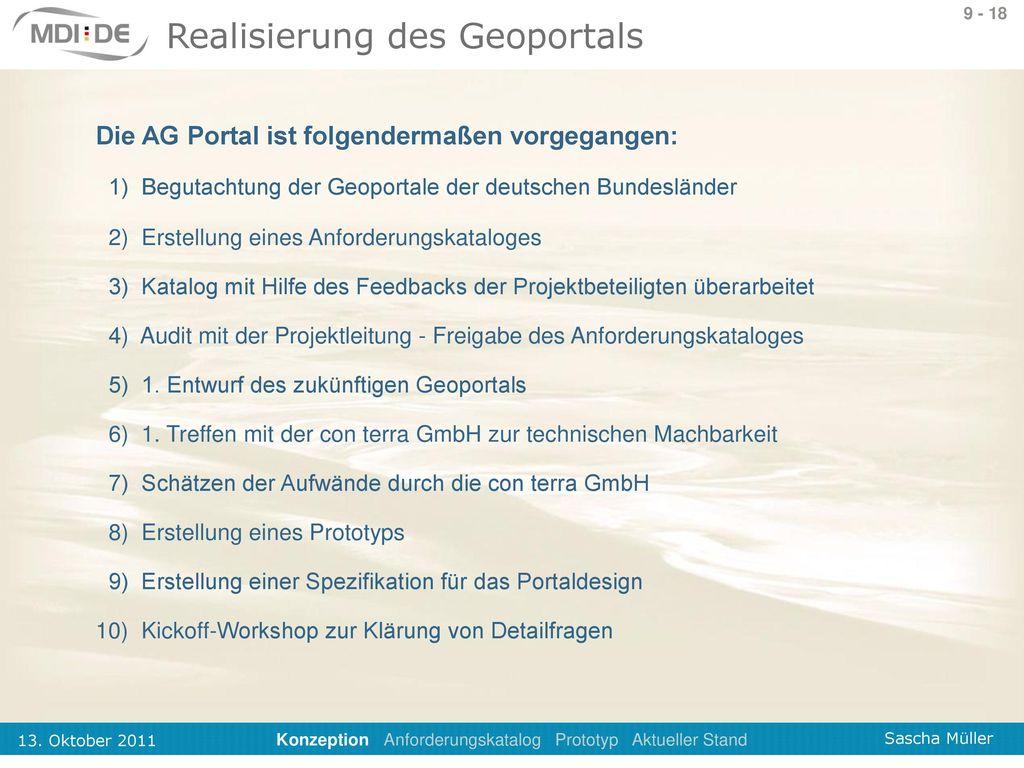 Realisierung des Geoportals