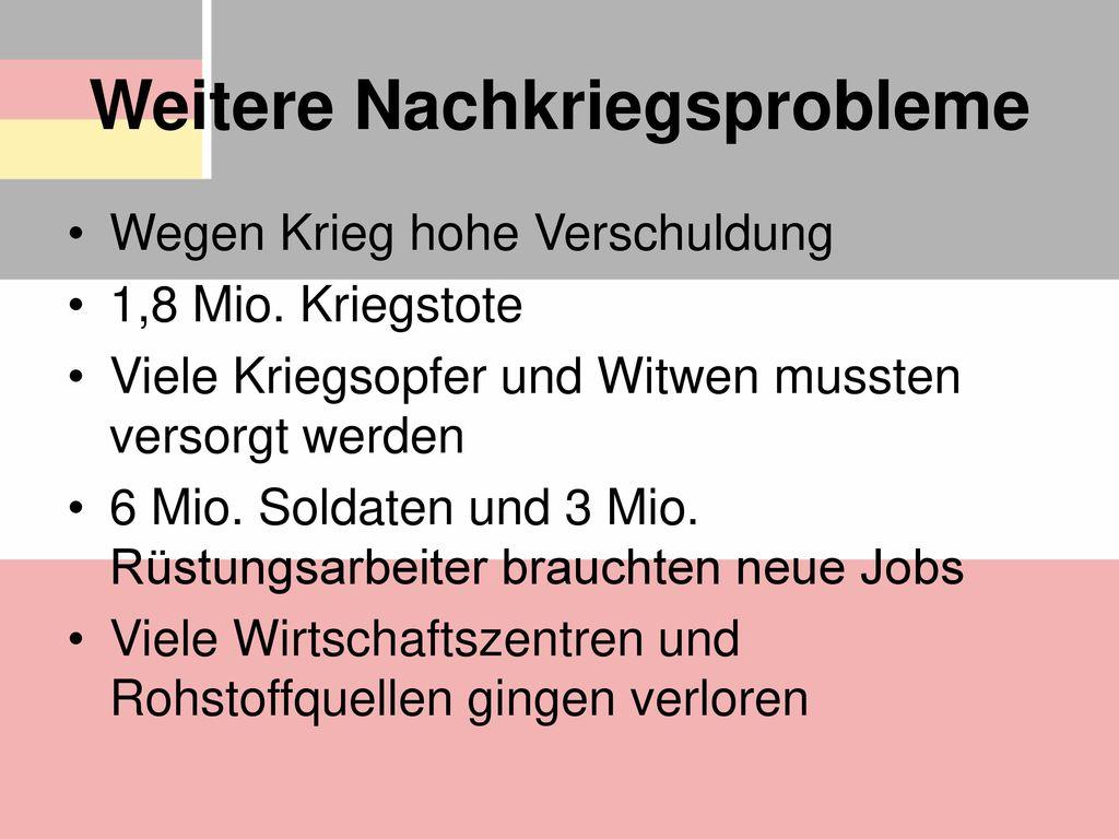 Weitere Nachkriegsprobleme
