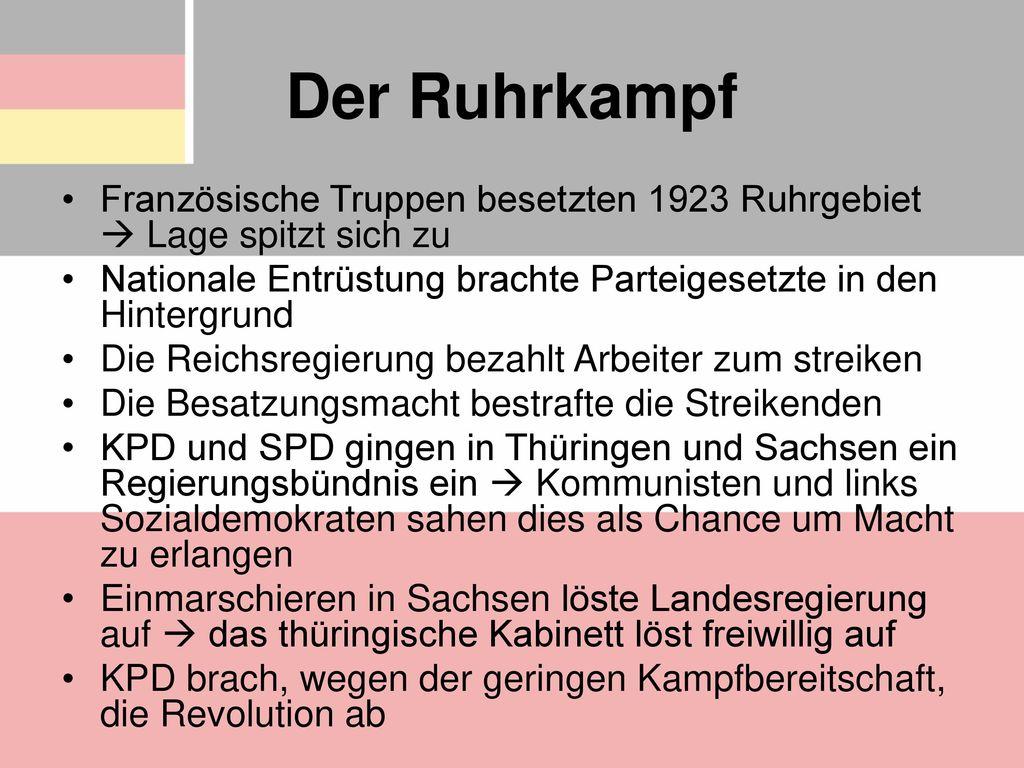 Der Ruhrkampf Französische Truppen besetzten 1923 Ruhrgebiet  Lage spitzt sich zu. Nationale Entrüstung brachte Parteigesetzte in den Hintergrund.