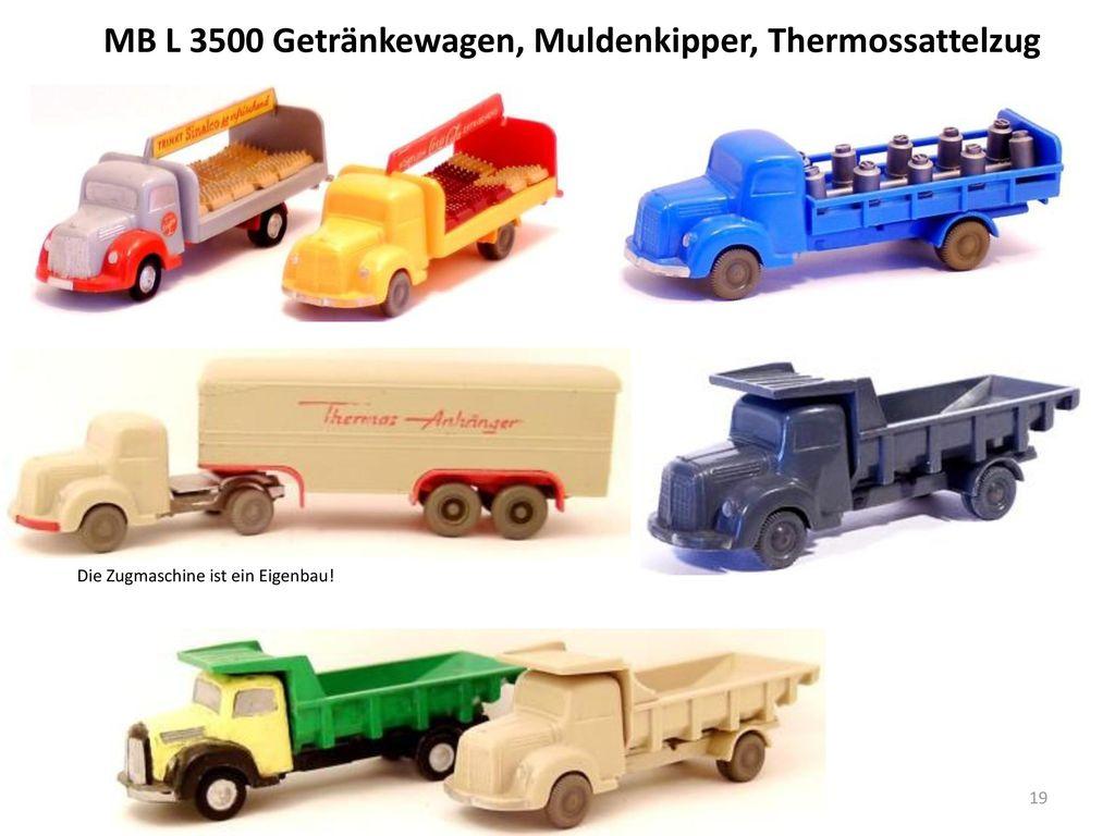 MB L 3500 Getränkewagen, Muldenkipper, Thermossattelzug