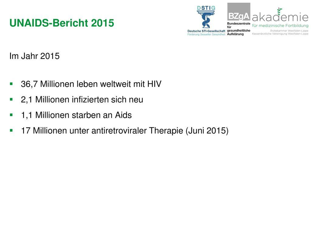 UNAIDS-Bericht 2015 Im Jahr 2015 36,7 Millionen leben weltweit mit HIV