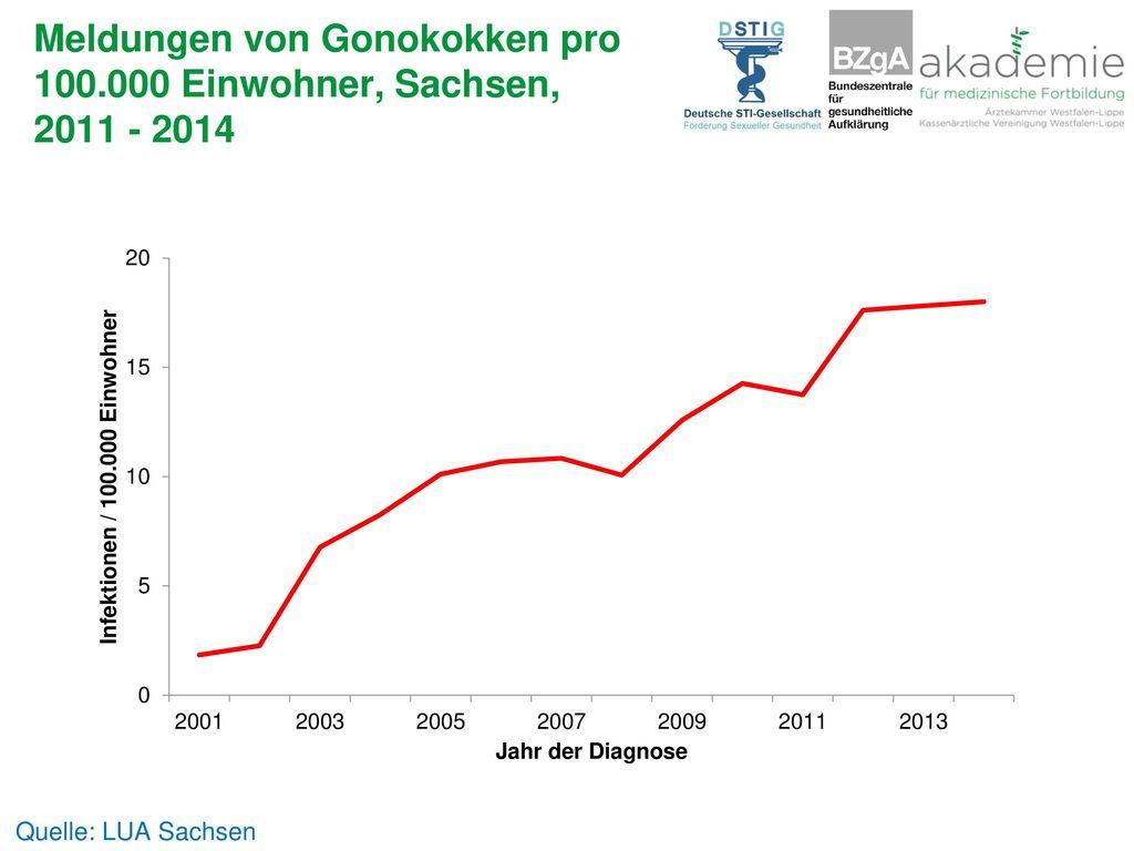 Meldungen von Gonokokken pro 100.000 Einwohner, Sachsen, 2011 - 2014