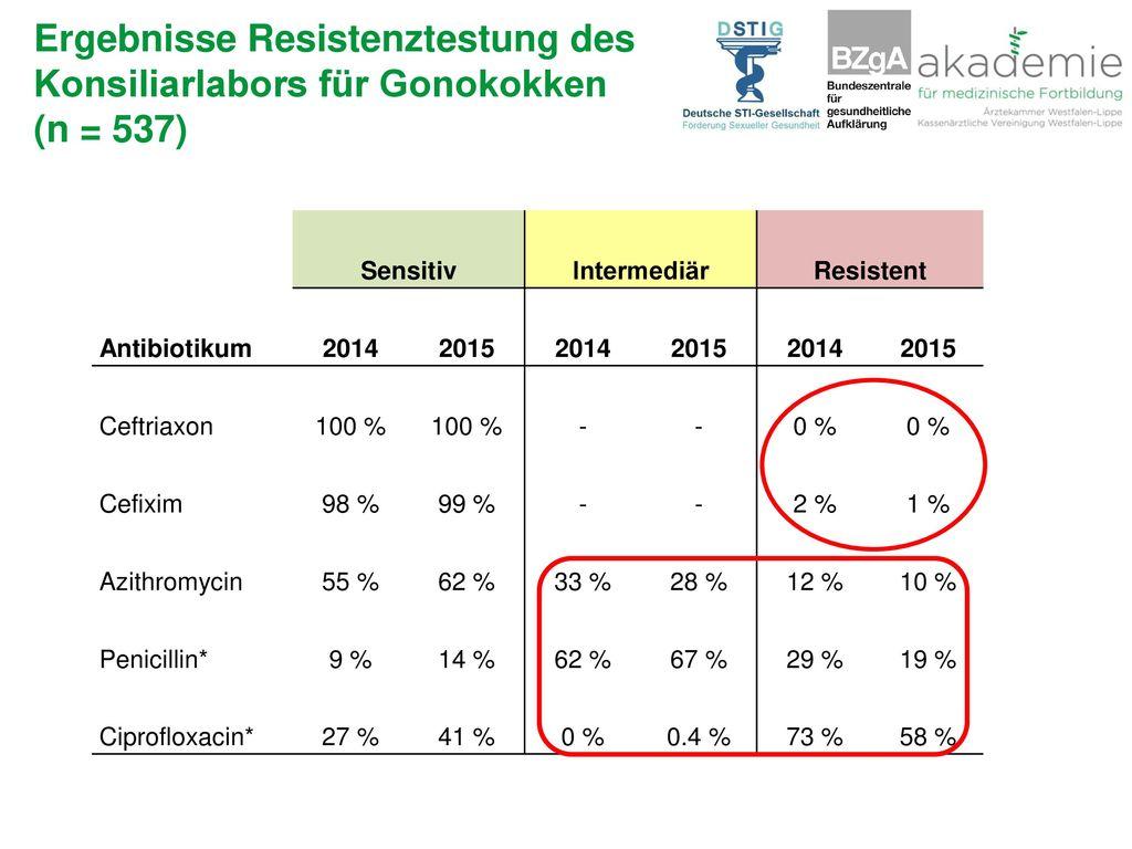 Ergebnisse Resistenztestung des Konsiliarlabors für Gonokokken (n = 537)