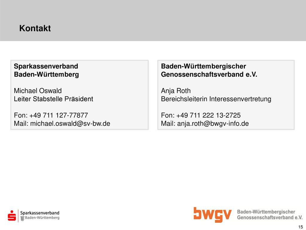Kontakt Sparkassenverband Baden-Württemberg Michael Oswald