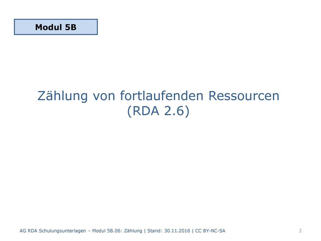 Zählung von fortlaufenden Ressourcen (RDA 2.6)