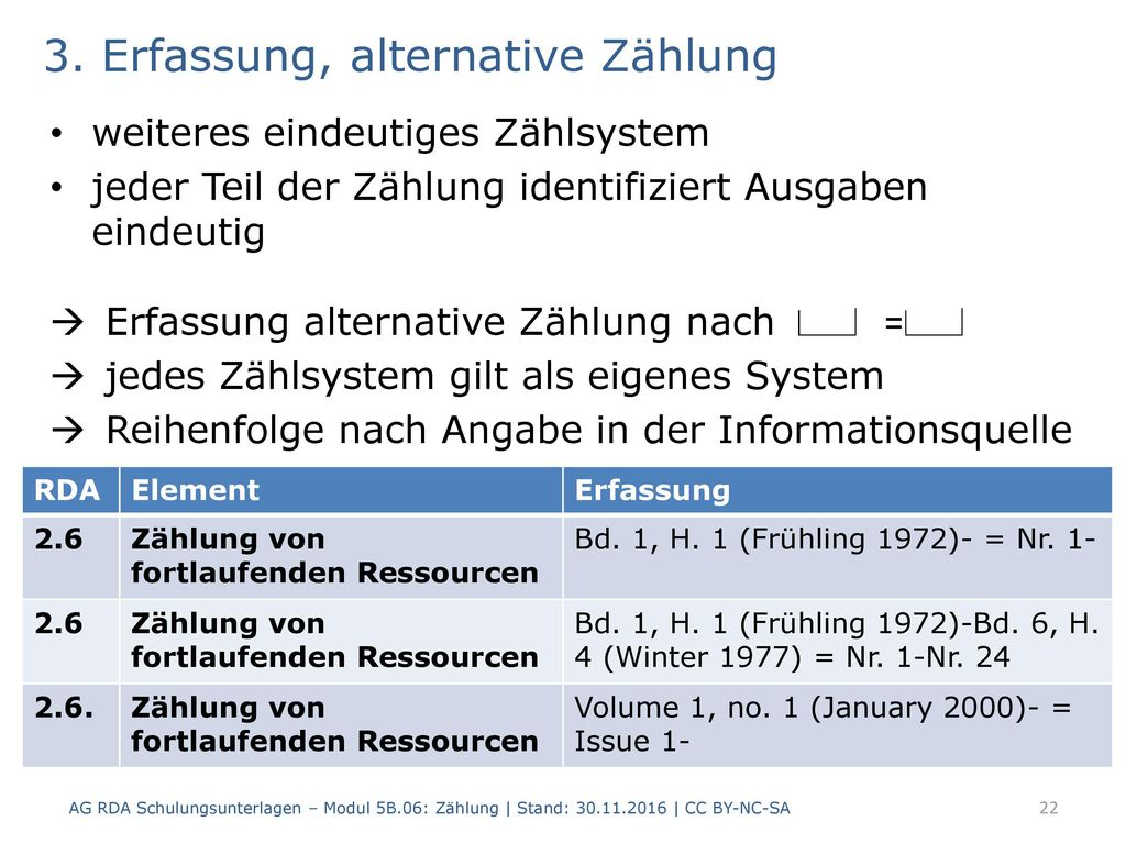 3. Erfassung, alternative Zählung