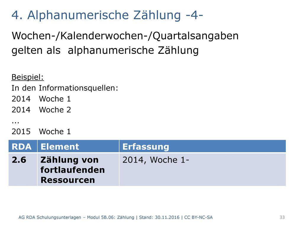 4. Alphanumerische Zählung -4-