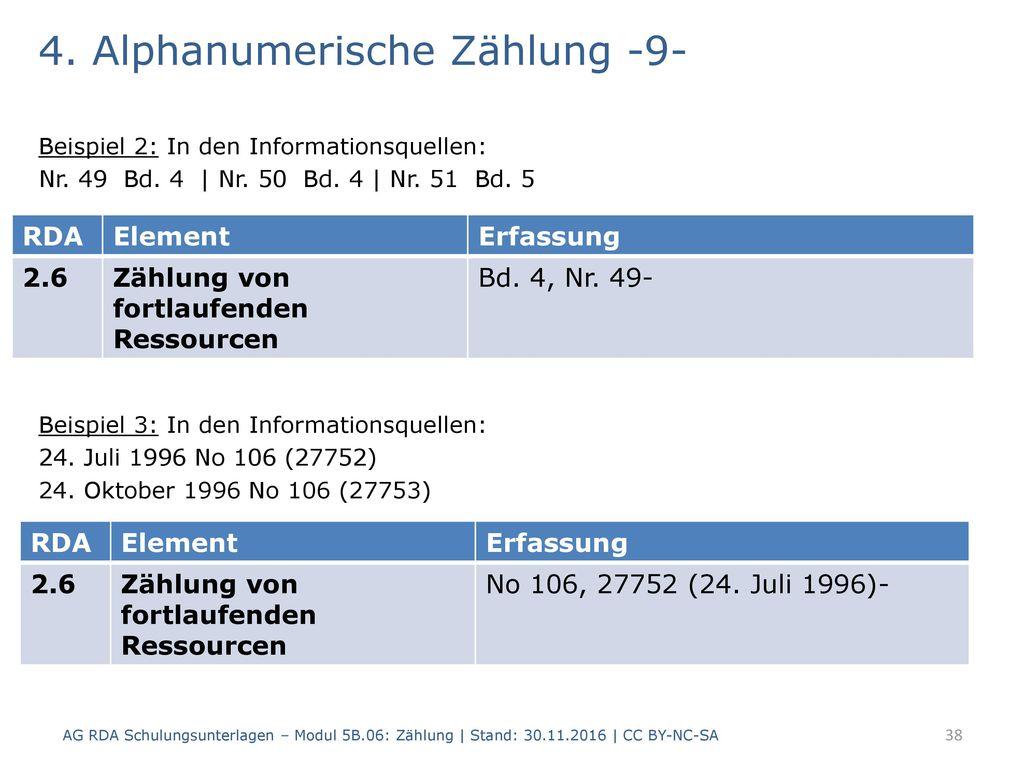 4. Alphanumerische Zählung -9-