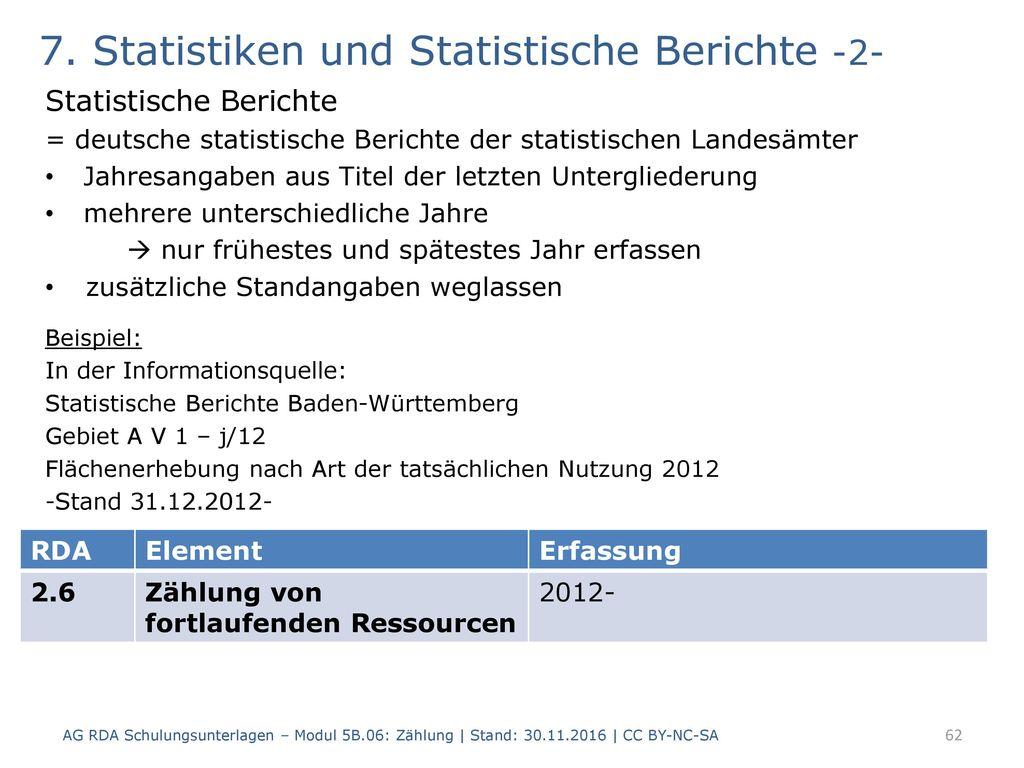 7. Statistiken und Statistische Berichte -2-