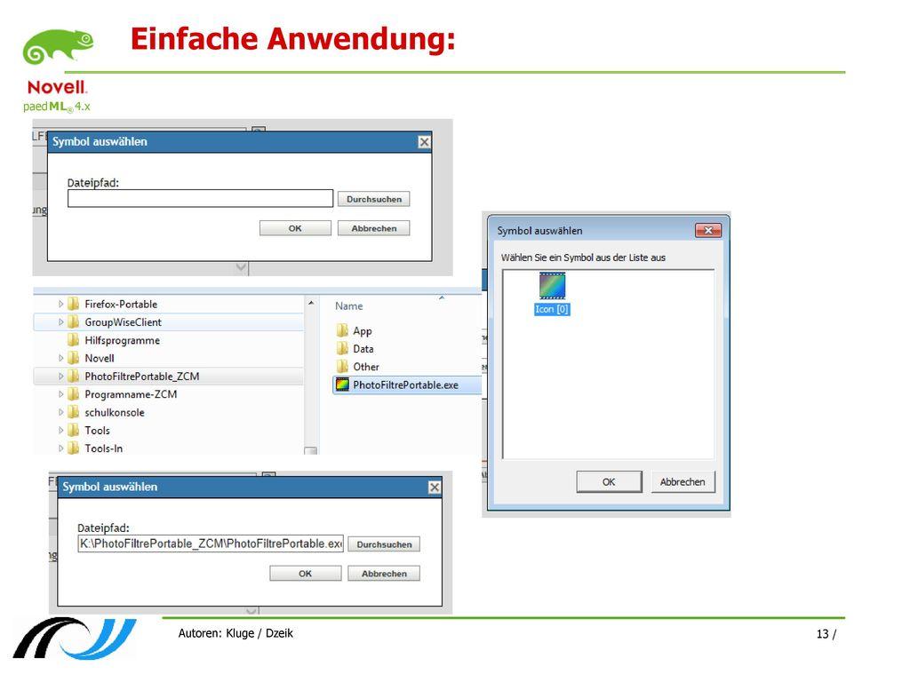Einfache Anwendung: Autoren: Kluge / Dzeik