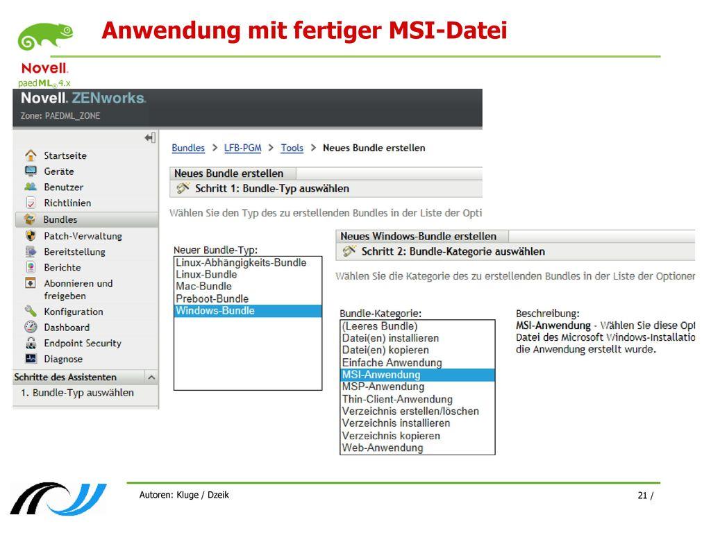 Anwendung mit fertiger MSI-Datei