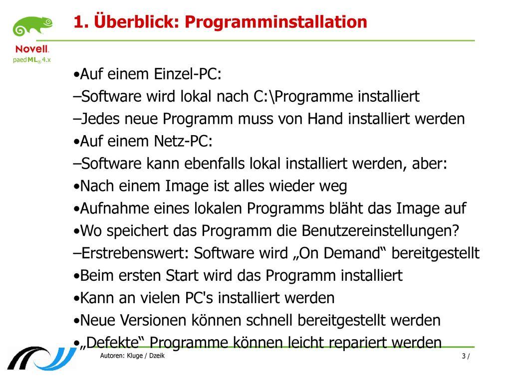 1. Überblick: Programminstallation