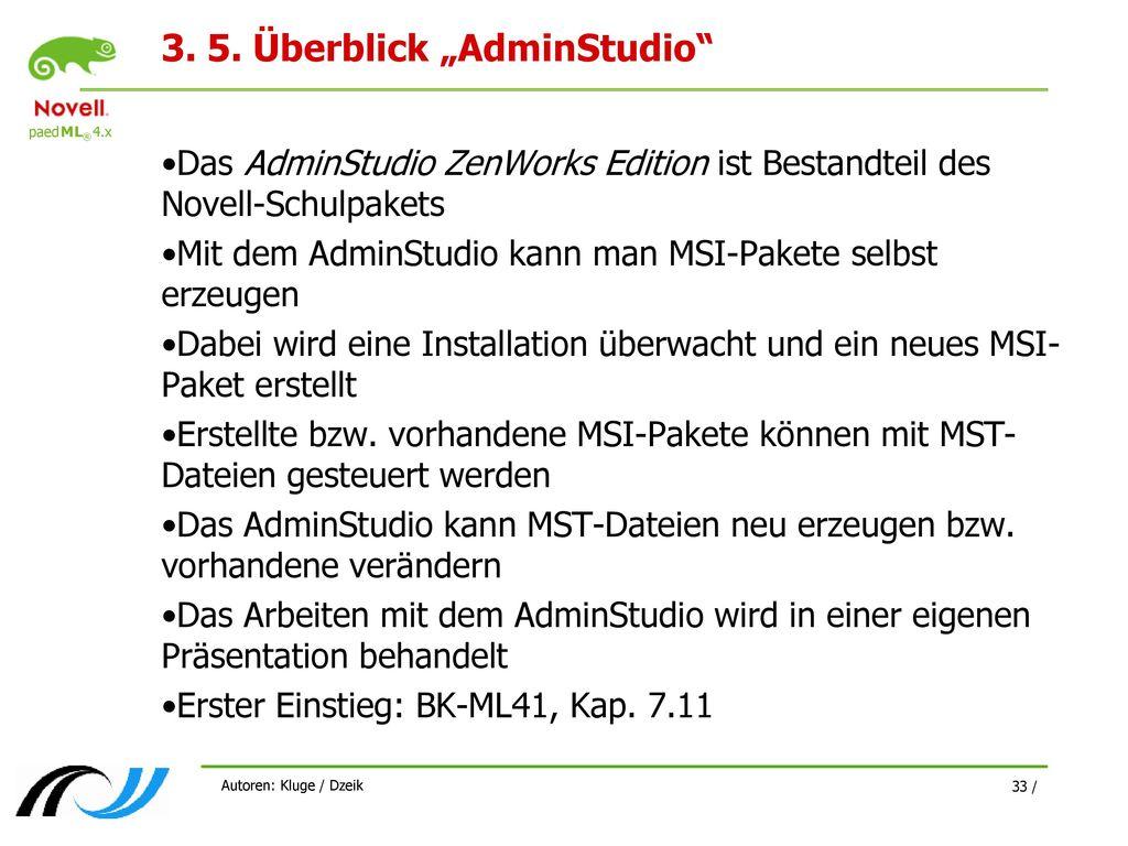 "3. 5. Überblick ""AdminStudio"