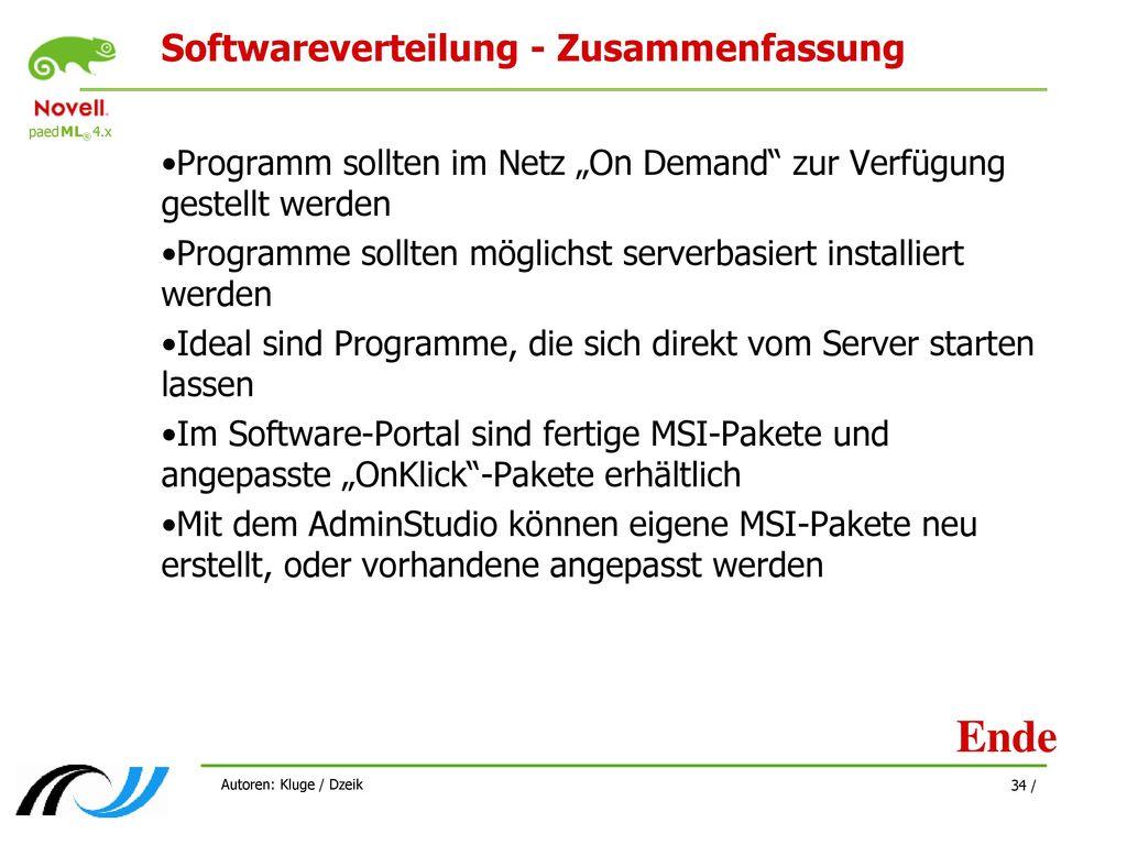 Softwareverteilung - Zusammenfassung