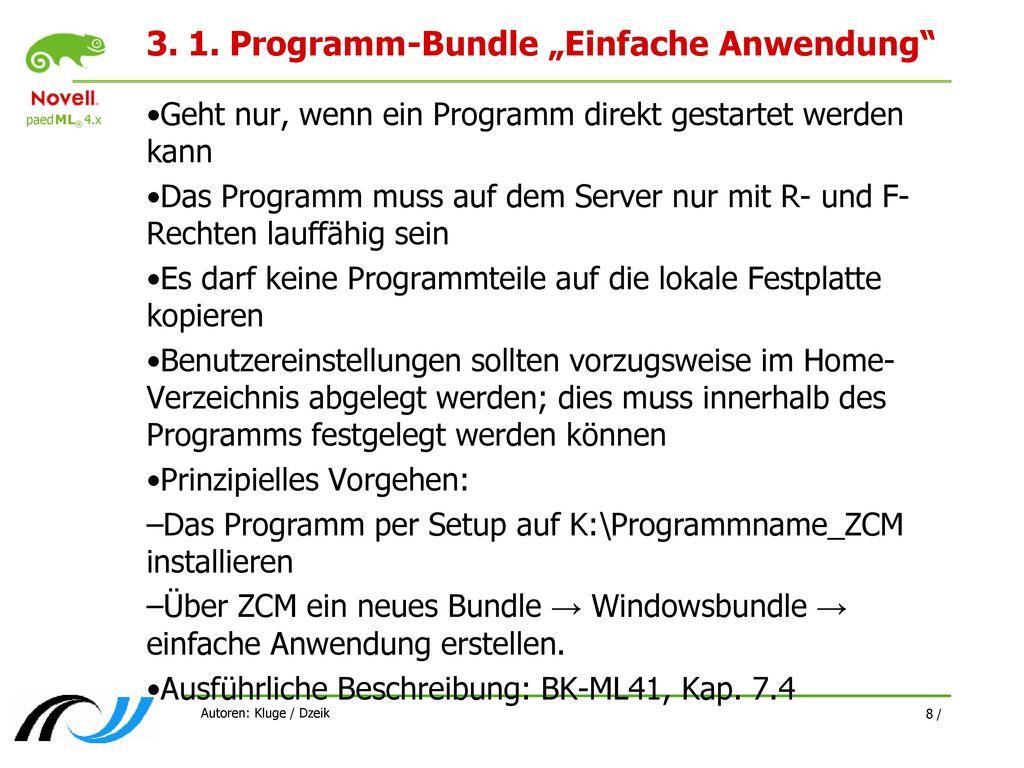"""3. 1. Programm-Bundle """"Einfache Anwendung"""