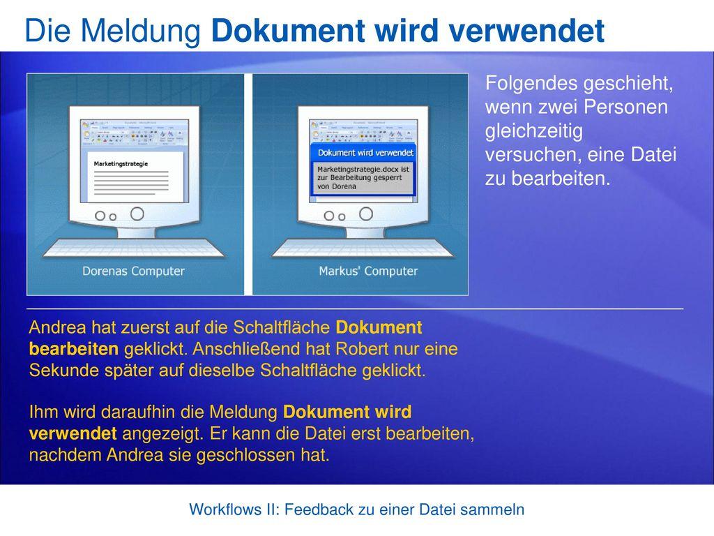 Die Meldung Dokument wird verwendet