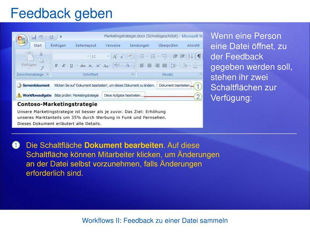 Workflows II: Feedback zu einer Datei sammeln