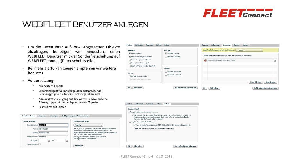 WEBFLEET Benutzer anlegen