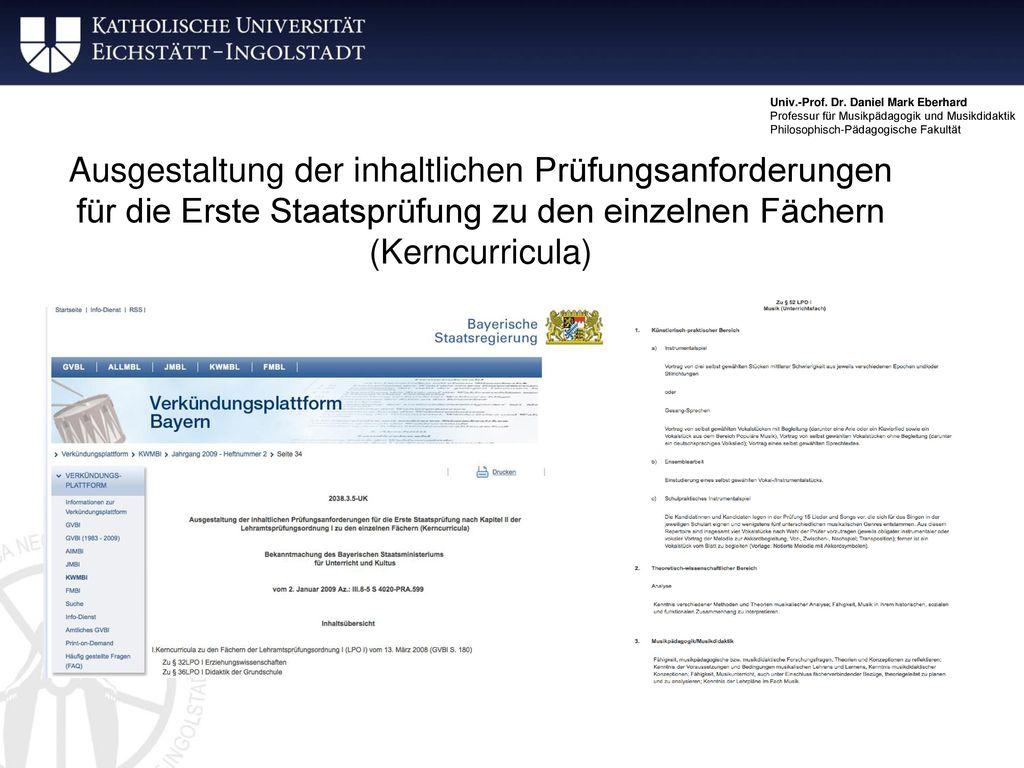 Ausgestaltung der inhaltlichen Prüfungsanforderungen für die Erste Staatsprüfung zu den einzelnen Fächern (Kerncurricula)