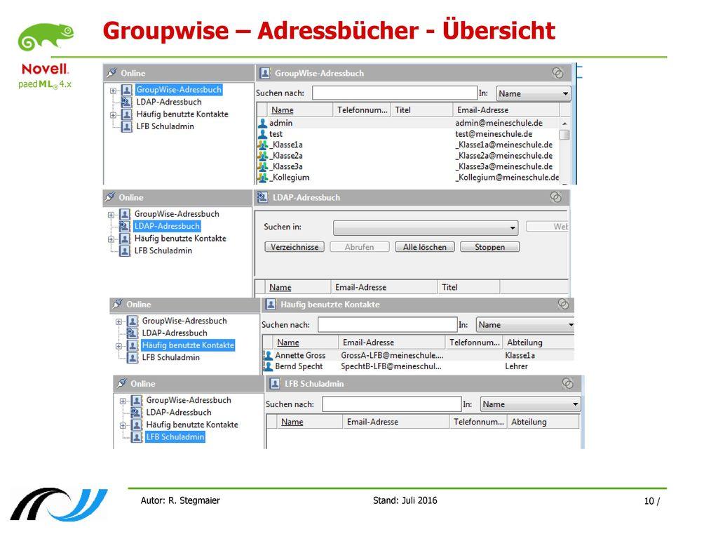 Groupwise – Adressbücher - Übersicht