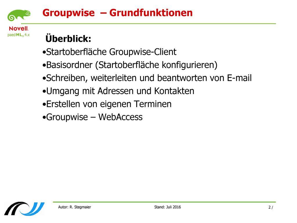Groupwise – Grundfunktionen