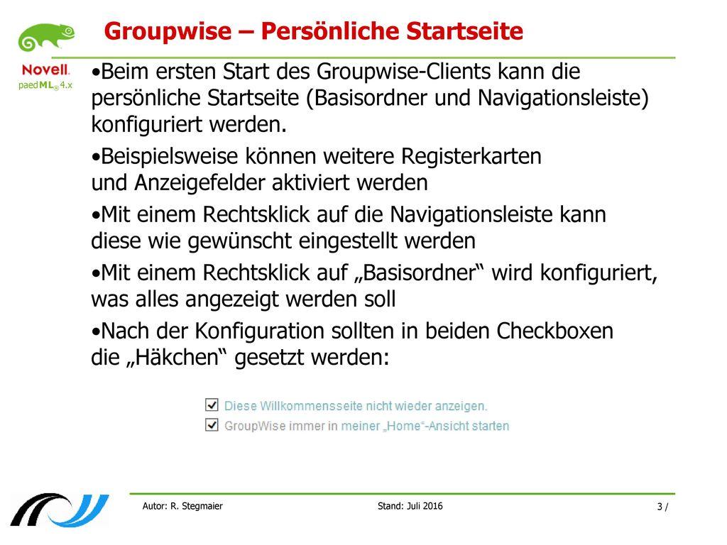 Groupwise – Persönliche Startseite