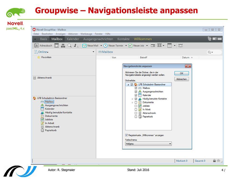 Groupwise – Navigationsleiste anpassen