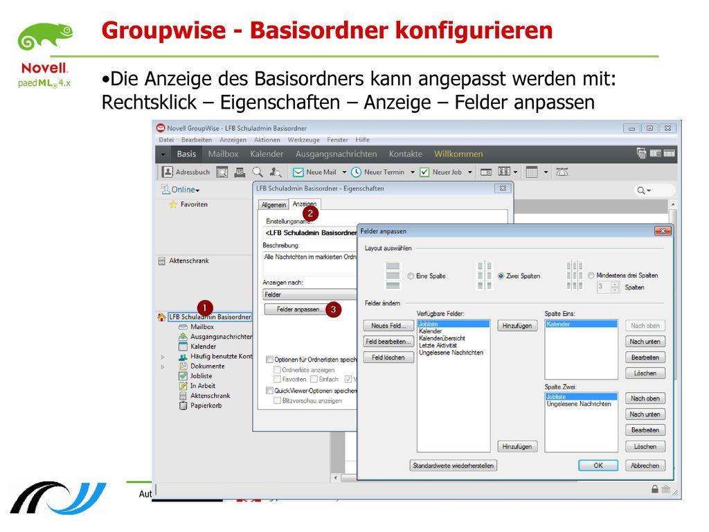 Groupwise - Basisordner konfigurieren