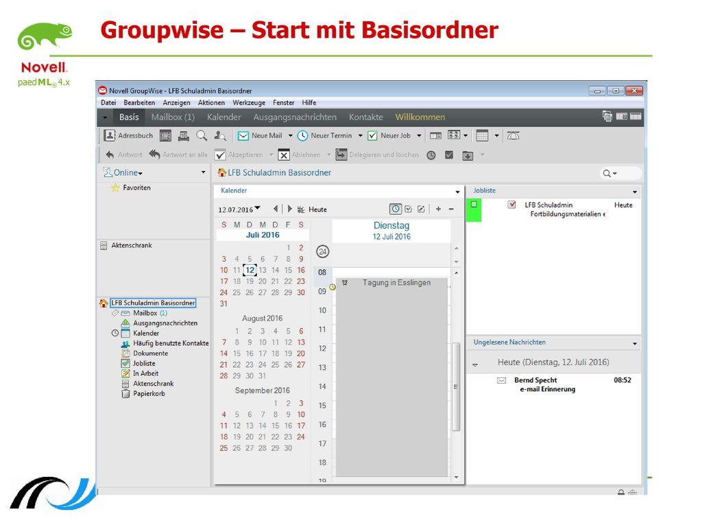 Groupwise – Start mit Basisordner