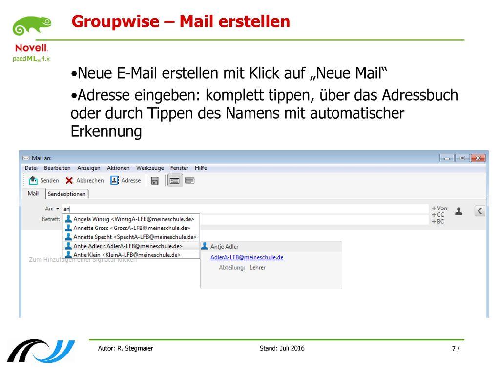 Groupwise – Mail erstellen