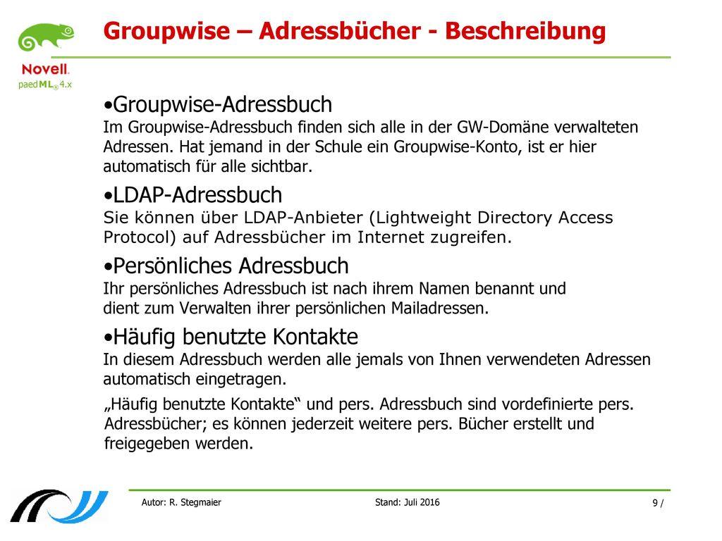 Groupwise – Adressbücher - Beschreibung