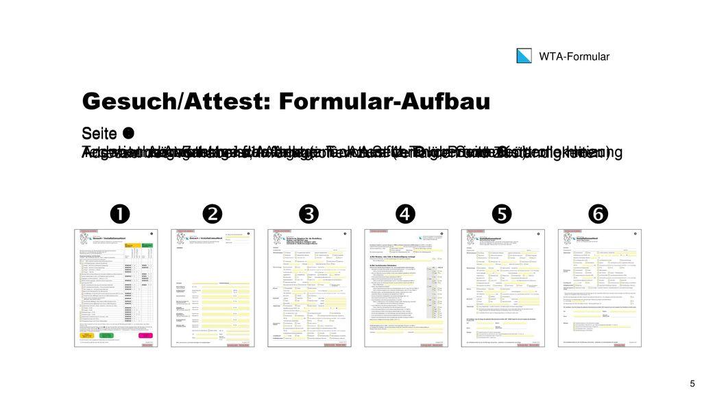 Gesuch/Attest: Formular-Aufbau