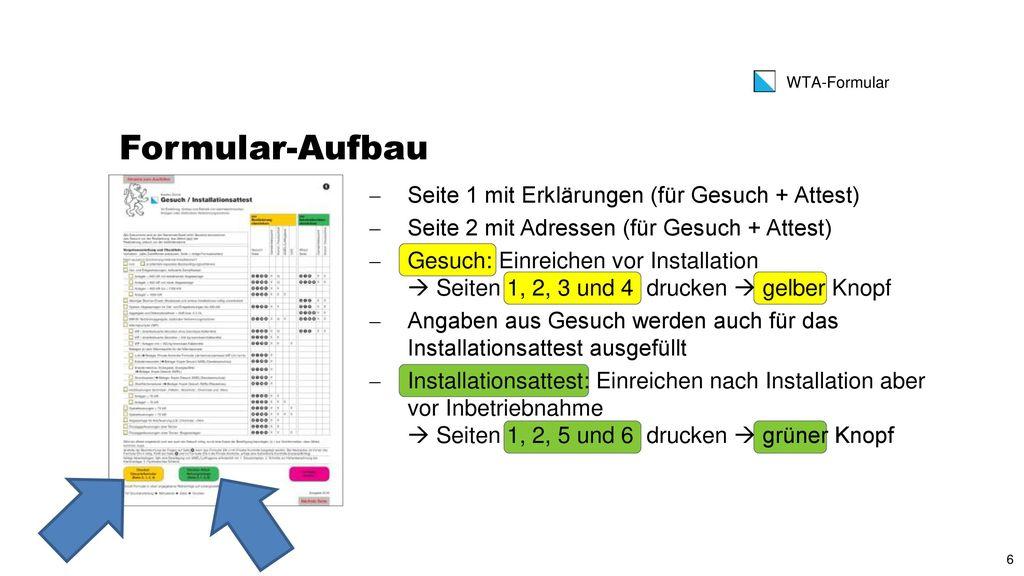 Formular-Aufbau Seite 1 mit Erklärungen (für Gesuch + Attest)