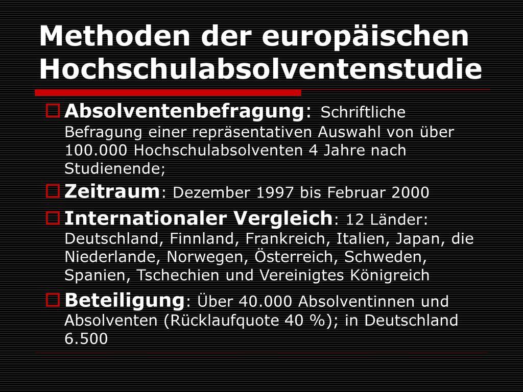 Methoden der europäischen Hochschulabsolventenstudie