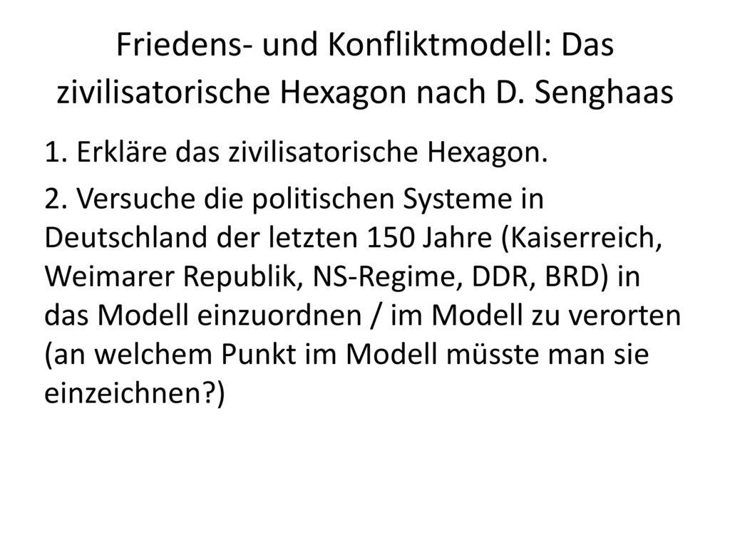 Friedens- und Konfliktmodell: Das zivilisatorische Hexagon nach D