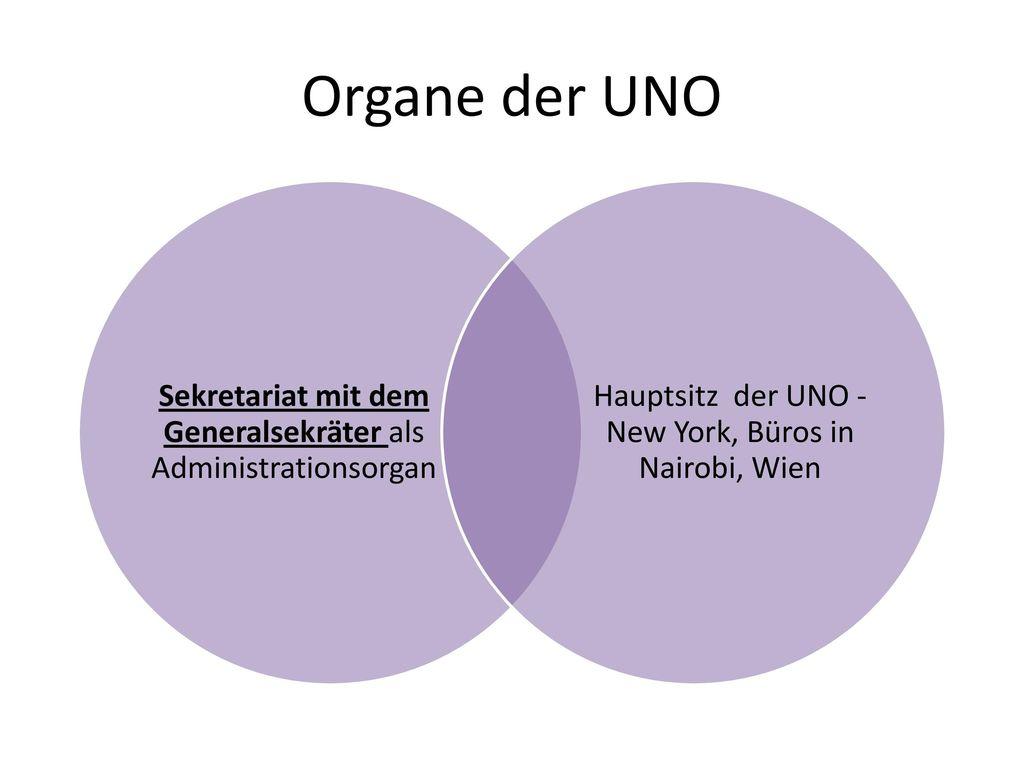 Organe der UNO Sekretariat mit dem Generalsekräter als Administrationsorgan.