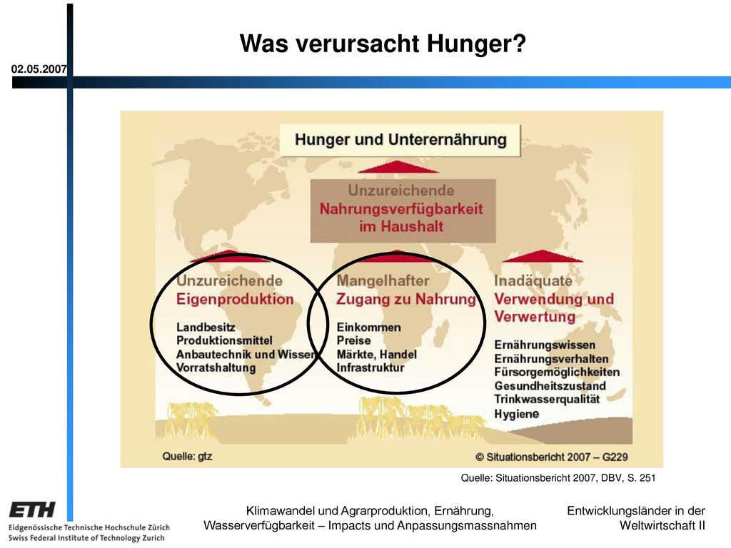 Was verursacht Hunger 02.05.2007. Quelle: Situationsbericht 2007, DBV, S. 251.