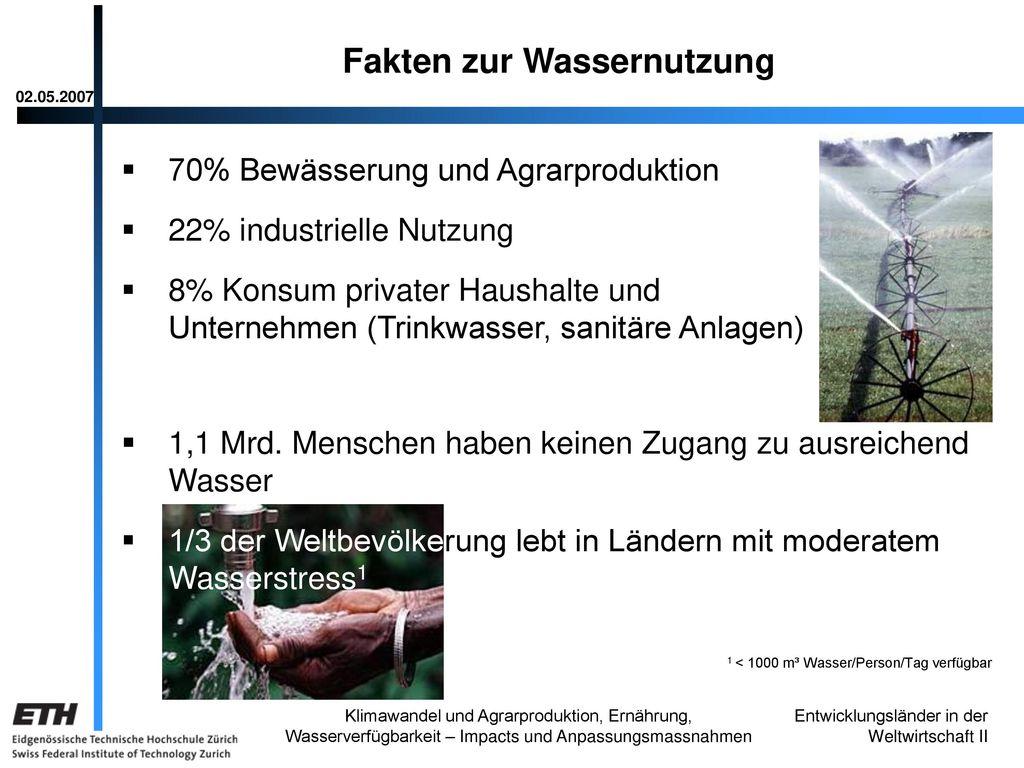 Fakten zur Wassernutzung
