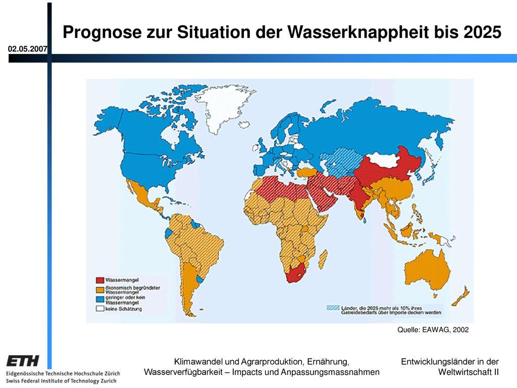 Prognose zur Situation der Wasserknappheit bis 2025