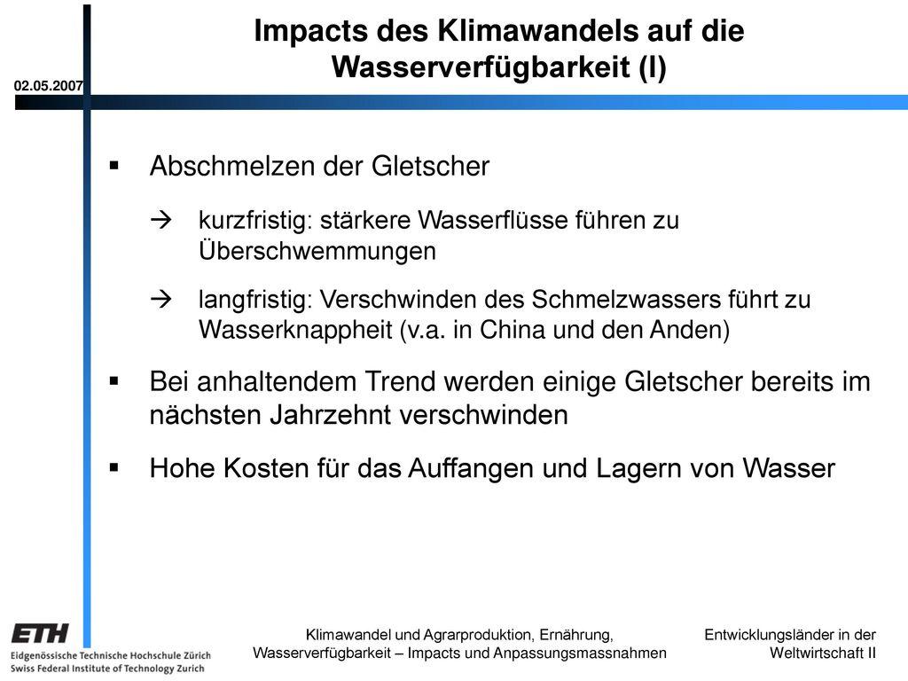 Impacts des Klimawandels auf die Wasserverfügbarkeit (I)