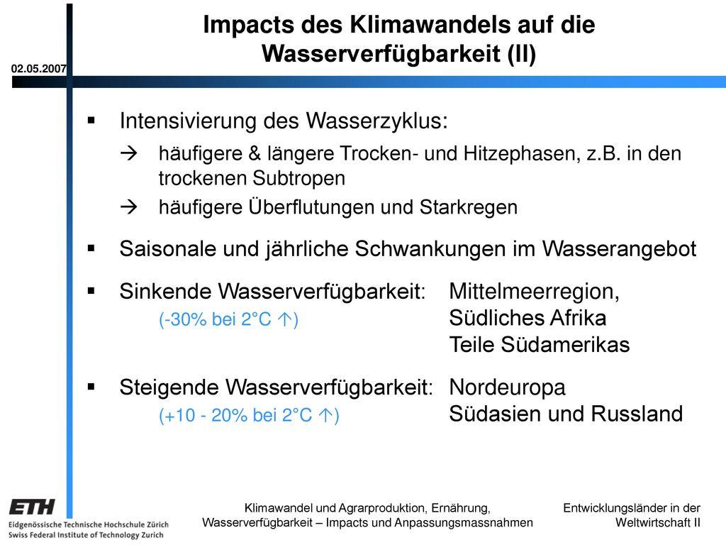 Impacts des Klimawandels auf die Wasserverfügbarkeit (II)