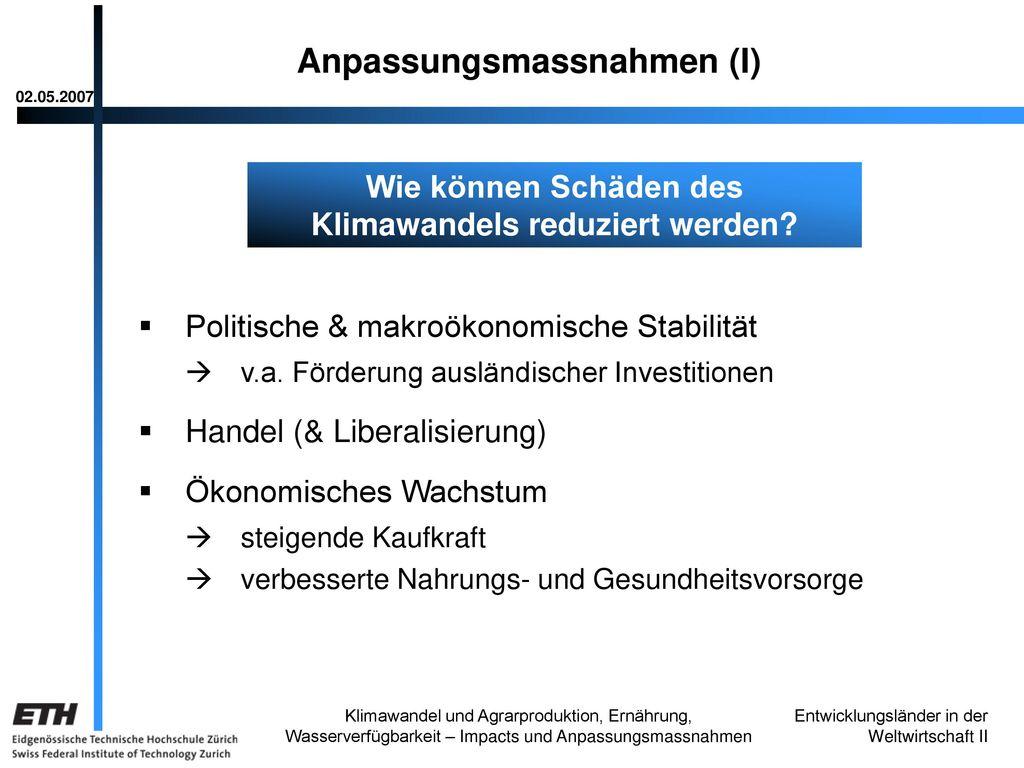 Anpassungsmassnahmen (I)